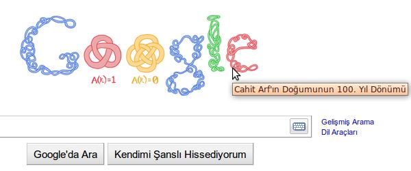 Google'dan Cahit Arf Logosu